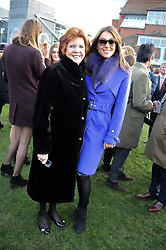 Left to right, CILLA BLACK and LIZ HURLEY at the 2012 Hennessy Gold Cup at Newbury Racecourse, Berkshire on 1st December 2012