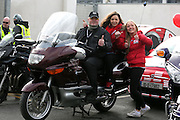 NO FEE PICTURES.5/5/13 On Saturday May 4th, the 8th Annual Rev-up4DSI motorcycle challenge in aid of Down Syndrome Ireland departed Joe Duffy BMW in Dublin, bound for Donegal. Pictured is Dermot Coffey, Rush with 98fm's Niamh Geaney and Laura Redden. Picture:Arthur Carron Photography