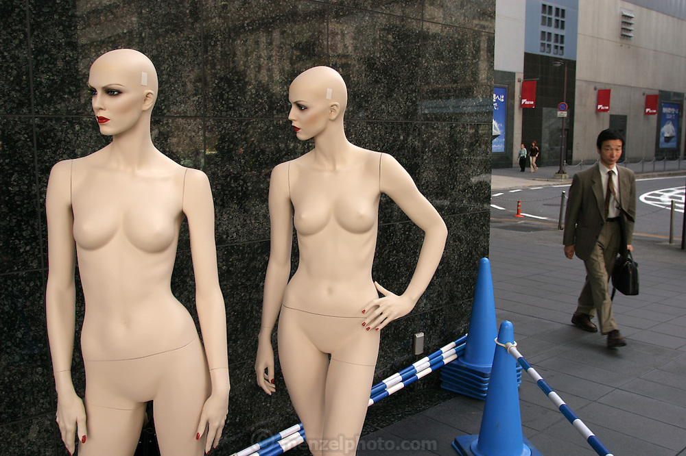 Dummies waiting for a dressing outside a department store near the Kyoto Railway Station in Kyoto, Japan. (Supporting image from the project Hungry Planet: What the World Eats.)