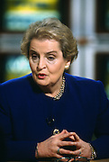 U.S. Secretary of State Madeleine Albright appears on NBC's Meet the Press talk show December 28, 1997 in Washington, DC.