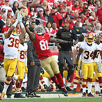 At least one person on the Washington Redskins sideline gets excited as Washington cornerback Greg Ducre intercepts a pass from 49ers quarterback intended for Anquan Boldin at Levi Stadium in Santa Clara, California. The 49ers prevailed and won the game 17-13.<br /> \Photo by Shmuel Thaler <br /> shmuel_thaler@yahoo.com www.shmuelthaler.com