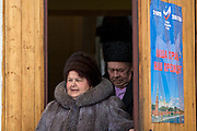 Rechitsy, Russia, 02/03/2008..Voters emerge from a polling station as Russians vote during the Presidential election that President Vladimir Putin's chosen heir Deputy Prime Minister Dmitry Medvedev is expected to win easily in the first round.