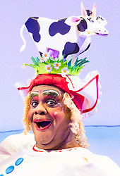 Hackney Empire Theatre, London, November 25th 2015.  Hackney Empire presents Jack and the Beanstalk as their 2015 Christmas pantomime. London's most famous panto will star Hackney Empire's own Olivier nominated dame Clive Rowe as Dame Daisy Trott, Olivier Award-nominated Bodyguard actress Debbie Kurup as Jack and Hackney Panto favourite Kat B as Snowman. Written and directed by Creative Director Susie McKenna, with music by Steven Edis. PICTURED: Clive Rowe as Dame Daisy Trott.