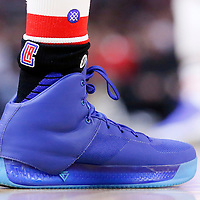 16 December 2015: Close view of Los Angeles Clippers guard Jamal Crawford (11) Brandblack shoes and Stance socks during the Los Angeles Clippers 103-90 victory over the Milwaukee Bucks, at the Staples Center, Los Angeles, California, USA.