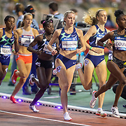 BRUSSELS, BELGIUM:  September 3:   Keely Hodgkinson of Great Britain and Jemma Reekie of Great Britain tracking Natoya Goule of Jamaica during the 800m for women at the Wanda Diamond League 2021 Memorial Van Damme Athletics competition at King Baudouin Stadium on September 3, 2021 in  Brussels, Belgium. (Photo by Tim Clayton/Corbis via Getty Images)