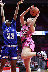 NORMAL, IL - February 10: Ty Battle defends Lexi Wallen during a college women's basketball Play4Kay game between the ISU Redbirds and the Indiana State Sycamores on February 10 2019 at Redbird Arena in Normal, IL. (Photo by Alan Look)