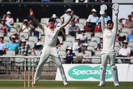 Lancashires Keaton Jennings and Dane Vilas (Capt) shout for an LBW  during the Specsavers County Champ Div 2 match between Lancashire County Cricket Club and Northamptonshire County Cricket Club at the Emirates, Old Trafford, Manchester, United Kingdom on 14 May 2019.