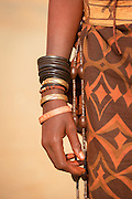 Detail of hand and bracelets, Woman of the Himba Tribe, Kunene Region, Northern Namibia, Southern Africa