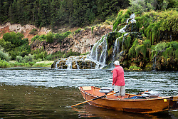 Fly-fishing in Paradise.  Jim Osterhout tries to tease a trout up from below Fall Creek Falls in Swan Valley Idaho.