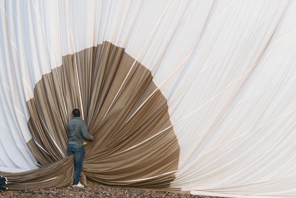 Folding of a hot-air balloon.