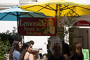 Lemonade stall on Portobello Road Market in Notting Hill, West London, England, United Kingdom. People enjoying a sunny day out hanging out at the famous Sunday market, when the antique stalls line the street.  Portobello Market is the worlds largest antiques market with over 1,000 dealers selling every kind of antique and collectible. Visitors flock from all over the world to walk along one of Londons best loved streets.