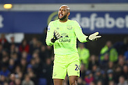 Everton Goalkeeper Tim Howard questions the referees assistant. Barclays Premier league match, Everton v Crystal Palace at Goodison Park in Liverpool, Merseyside on Monday 7th December 2015.<br /> pic by Chris Stading, Andrew Orchard sports photography.