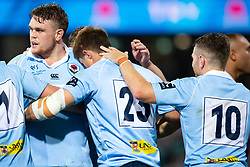 March 9, 2019 - Sydney, NSW, U.S. - SYDNEY, NSW - MARCH 09: Waratahs player Bernard Foley (10) congratulates Waratahs player Alex Newsome (23) after his try at round 4 of Super Rugby between NSW Waratahs and Queensland Reds on March 09, 2019 at The Sydney Cricket Ground, NSW. (Photo by Speed Media/Icon Sportswire) (Credit Image: © Speed Media/Icon SMI via ZUMA Press)