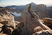 Leif Anderson enjoys the view from the summit of Little El Capitan in Popo Agie Wilderness, Wind River Range, Wyoming.