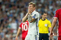 Toni Kroos of Real Madrid reacts during the match of Champions League between Real Madrid and FC Bayern Munchen at Santiago Bernabeu Stadium  in Madrid, Spain. April 18, 2017. (ALTERPHOTOS)