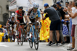 July 8, 2017 - Station Des Rousses, FRANCE - Belgian Serge Pauwels of Dimension Data and Belgian Jan Bakelants of AG2R La Mondiale pictured in action during the eighth stage of the 104th edition of the Tour de France cycling race, 187,5km from Dole to Station des Rousses, France, Saturday 08 July 2017. This year's Tour de France takes place from July first to July 23rd. BELGA PHOTO YUZURU SUNADA (Credit Image: © Yuzuru Sunada/Belga via ZUMA Press)