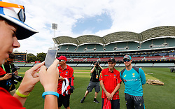 Australia's Steve Smith with South Australian Diasability Cricket players during a press conference at the Adelaide Oval, Adelaide.