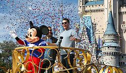 Super Bowl LIII MVP Julian Edelman and New England Patriots quarterback Tom Brady (right) celebrate with Mickey Mouse in the Super Bowl victory parade in the Magic Kingdom on Monday, February 4, 2019 at Walt Disney World, in Lake Buena Vista, FL, USA. Photo by Joe Burbank/Orlando Sentinel/TNS/ABACAPRESS.COM