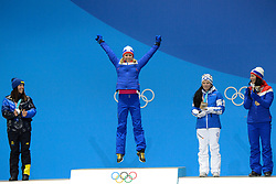 February 15, 2018 - Pyeongchang, South Korea - RAGNHLD HAGA of Norway celebrates receiving the gold medal for the Ladies' 10km Free cross-country event In the PyeongChang Olympic games. (Credit Image: © Christopher Levy via ZUMA Wire)