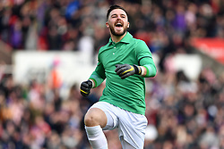 February 23, 2019 - Stoke On Trent, England, United Kingdom - Jack Butland (1) of Stoke City celebrates after his side scores a goal to make it 1-0 during the Sky Bet Championship match between Stoke City and Aston Villa at the Britannia Stadium, Stoke-on-Trent on Saturday 23rd February 2019. (Credit Image: © Mi News/NurPhoto via ZUMA Press)