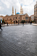 Overcast day at the Place d'Etoile in Beirut, Lebanon. St. George Orthodox Cathedral and, behind it the Mohammad Al-Amin Mosque.