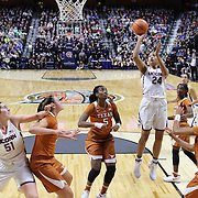 UNCASVILLE, CONNECTICUT- DECEMBER 4: Napheesa Collier #24 of the Connecticut Huskies shoots for two points during the UConn Huskies Vs Texas Longhorns, NCAA Women's Basketball game in the Jimmy V Classic on December 4th, 2016 at the Mohegan Sun Arena, Uncasville, Connecticut. (Photo by Tim Clayton/Corbis via Getty Images)