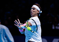 Tennis - 2019 Nitto ATP Finals at The O2 - Day Six<br /> <br /> Singles Group Andre Agassi: Rafael Nadal (Spain) Vs. Stefanos Tsitsipas (Greece)<br /> <br /> Rafael Nadal (Spain) grimaces as he hits a forehand <br /> <br /> COLORSPORT/DANIEL BEARHAM<br /> <br /> COLORSPORT/DANIEL BEARHAM