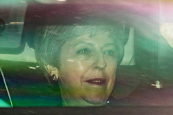 © Licensed to London News Pictures. 20/06/2019. London, UK. Prime Minister Theresa May is driven in to Parliament for the next round of voting in the leadership campaign. The final two candidates will be put to the party membership in a ballot. Photo credit: Rob Pinney/LNP