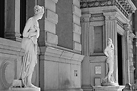A self-confident Paris challenges the shy Venus to come get his apple;  Sculptures (ca. 1822) by Antonio Canova, Italian; Metropolitan Museum of Art.