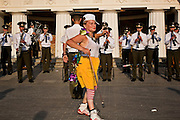 Moscow, Russia, 15/07/2006..People dance to music from a miltary brass band in Alexandrovskii Gardens beside the Kremlin..