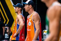 Robert Meeuwsen, Alexander Brouwer in action during the last day of the beach volleyball event King of the Court at Jaarbeursplein on September 12, 2020 in Utrecht.