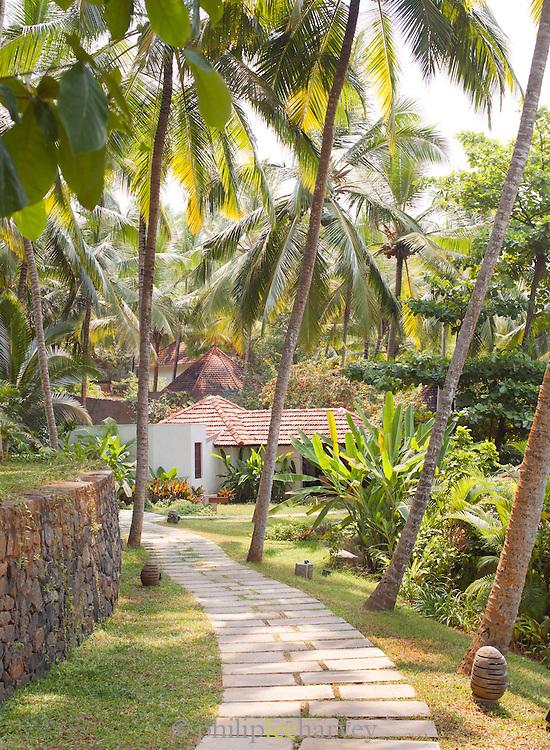 A garden walkway in a hotel near Trivandrum (Thiruvananthapuram), Kerala, India