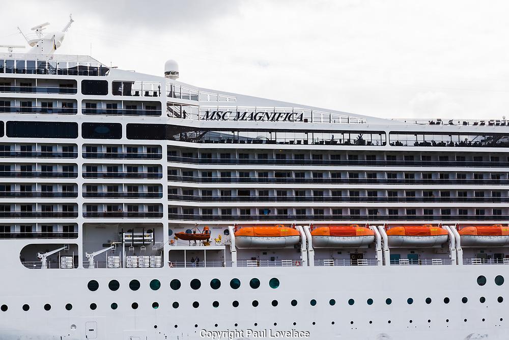 Cruise ship MSC Magnifica in Sydney Harbour at the start  of the Coronavirus Outbreak in Sydney, Australia.