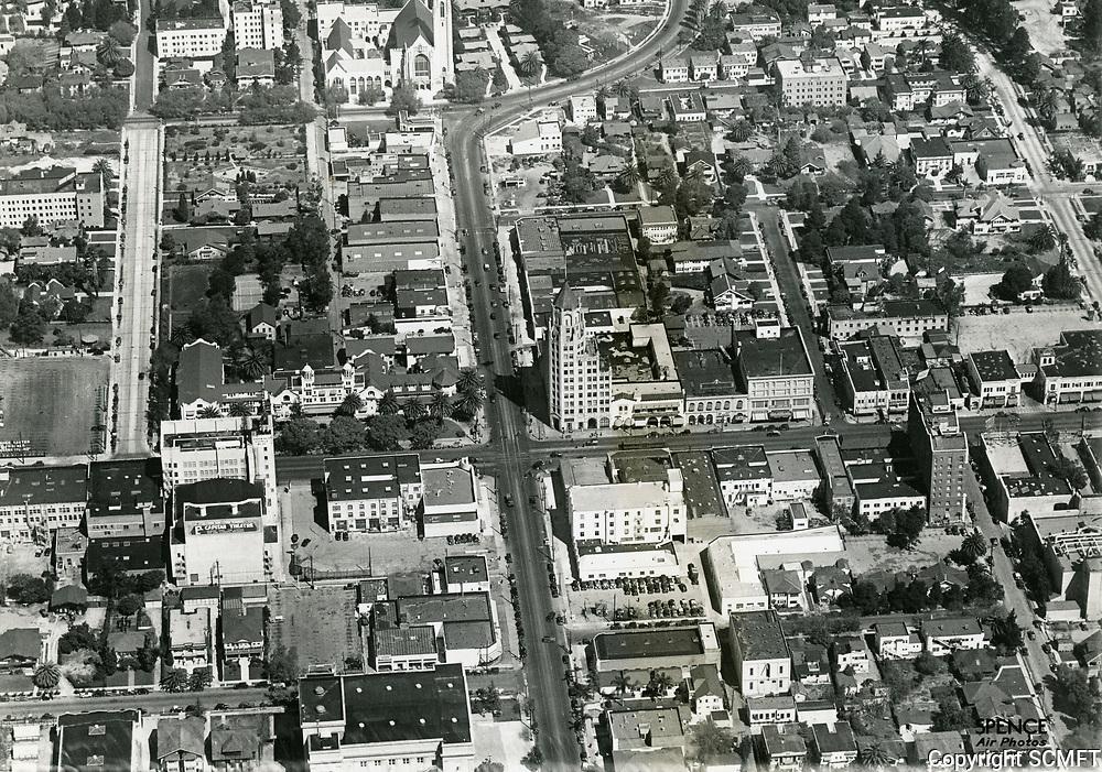 1936 Looking north up Highland Ave. at Holywood Blvd.