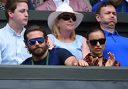 Bradley Cooper and Irina Shayk during the Federer's semi final round match at the 2016 Wimbledon Championships at the AELTC in London, Great Britain, on July 8, 2016. Photo by Corinne DubreuilABACAPRESS.COM