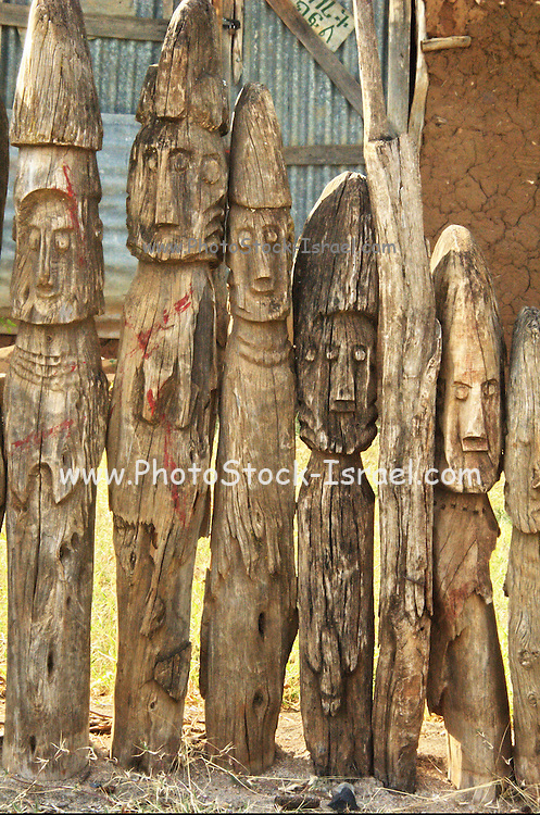 Africa, Ethiopia, Konso carved wooden grave marker