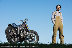 Hide Motorcycles' Hideya Togashi with his  custom motorcycle shop in Kawasaki, Japan after the Yokohama Hot Rod & Custom Show. Kawasaki, Japan. December 6, 2016.  Photography ©2016 Michael Lichter.