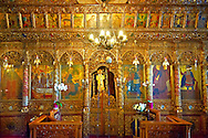 Iconostasis of the 12th century Byzantine Holy Church of Nea Megali Panagia, restored 1727, Thsalonica, Greece .<br /> <br /> Visit our ANCIENT GREEKS PHOTO COLLECTIONS for more photos to download or buy as wall art prints https://funkystock.photoshelter.com/gallery-collection/Ancient-Greeks-Art-Artefacts-Antiquities-Historic-Sites/C00004CnMmq_Xllw .<br /> <br /> Visit our MEDIEVAL PHOTO COLLECTIONS for more   photos  to download or buy as prints https://funkystock.photoshelter.com/gallery-collection/Medieval-Middle-Ages-Historic-Places-Arcaeological-Sites-Pictures-Images-of/C0000B5ZA54_WD0s