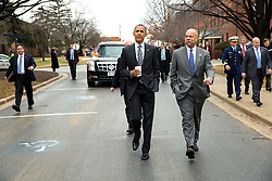 President Barack Obama and Homeland Security Secretary Jeh Johnson walk between buildings before the President delivers remarks on the FY 2016 budget, at the Department of Homeland Security in Washington, D.C., Feb. 2, 2015. (Official White House Photo by Pete Souza)  <br /> <br /> This official White House photograph is being made available only for publication by news organizations and/or for personal use printing by the subject(s) of the photograph. The photograph may not be manipulated in any way and may not be used in commercial or political materials, advertisements, emails, products, promotions that in any way suggests approval or endorsement of the President, the First Family, or the White House.