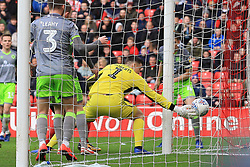 March 16, 2019 - Sunderland, Tyne and Wear, United Kingdom - Walsall goalkeeper Liam Roberts cannot stop the shot from Lee Cattermole (not pictured) of Sunderland from going in to make the score 1-0 to Sunderland  during the Sky Bet League 1 match between Sunderland and Walsall at the Stadium Of Light, Sunderland on Saturday 16th March 2019. (Credit: Steven Hadlow | MI News) (Credit Image: © Mi News/NurPhoto via ZUMA Press)