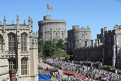 Guards of the Blues and Royals regiment and the military band ahead of the annual Order of the Garter Service at St George's Chapel, Windsor Castle.