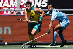 (L-R) Eddie Ockenden of Australia, Lalit Upadhyay of India during the Champions Trophy finale between the Australia and India on the fields of BH&BC Breda on Juli 1, 2018 in Breda, the Netherlands.