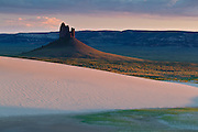 The Boars Tusk at sunset viewed from the Killpecker Sand Dunes.