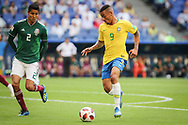 Gabriel Jesus of Brazil and Hugo Ayala of Mexico during the 2018 FIFA World Cup Russia, round of 16 football match between Brazil and Mexico on July 2, 2018 at Samara Arena in Samara, Russia - Photo Thiago Bernardes / FramePhoto / ProSportsImages / DPPI