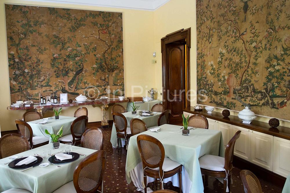 Breakfast room in Villa Spaletti Trivelli Hotel, a 5 star, antique boutique Hotel in Rome, Italy.