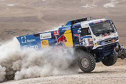 AREQUIPA, Jan. 11, 2019  Russian driver Eduard Nikolaev and co-driver Evgenii Iakovlev compete during the 4th stage of the 2019 Dakar Rally Race, near La Joya, Arequipa province, Peru, on Jan. 10, 2019. Eduard Nikolaev and Evgenii Iakovlev finished the 4th stage with 4 hours 23 minutes and 13 seconds. (Credit Image: © Xinhua via ZUMA Wire)