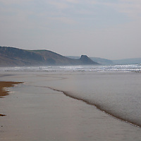Europe, United Kingdom, Wales. Tides of Newgale Beach in Pembrokeshire.