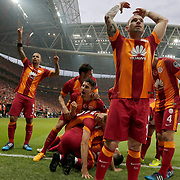 Galatasaray's players celebrate his goal during their Turkish Super League derby match Galatasaray between Besiktas at the AliSamiYen Spor Kompleksi TT Arena at Seyrantepe in Istanbul Turkey on Sunday, 24 May 2015. Photo by Aykut AKICI/TURKPIX