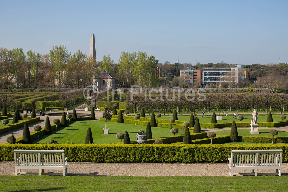 The gardens at The Irish Museum of Modern Art, IMMA, on 07th April 2017 in Dublin, Republic of Ireland. The IMMA, housed in the Royal Hospital Kilmainham, an impressive 17th-century building, is Irelands leading national institution for the collection and presentation of modern and contemporary art. Dublin is the the largest city and capital of the Republic of Ireland.
