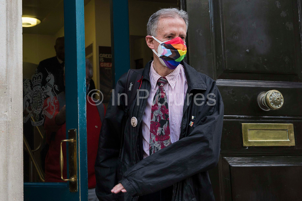 Veteran LGBT+ and human rights campaigner Peter Tatchell leaves the Cabinet Office and Government Equalities Office after handing in a petition signed by 7,500 people calling on the government to fulfil a promise it made in July 2018 to ban LGBT+ conversion therapy on 23rd June 2021 in London, United Kingdom. LGBT+ conversion treatments, which have been linked to anxiety, depression and self-harm, have been condemned by major UK medical, psychological and counselling organisations.